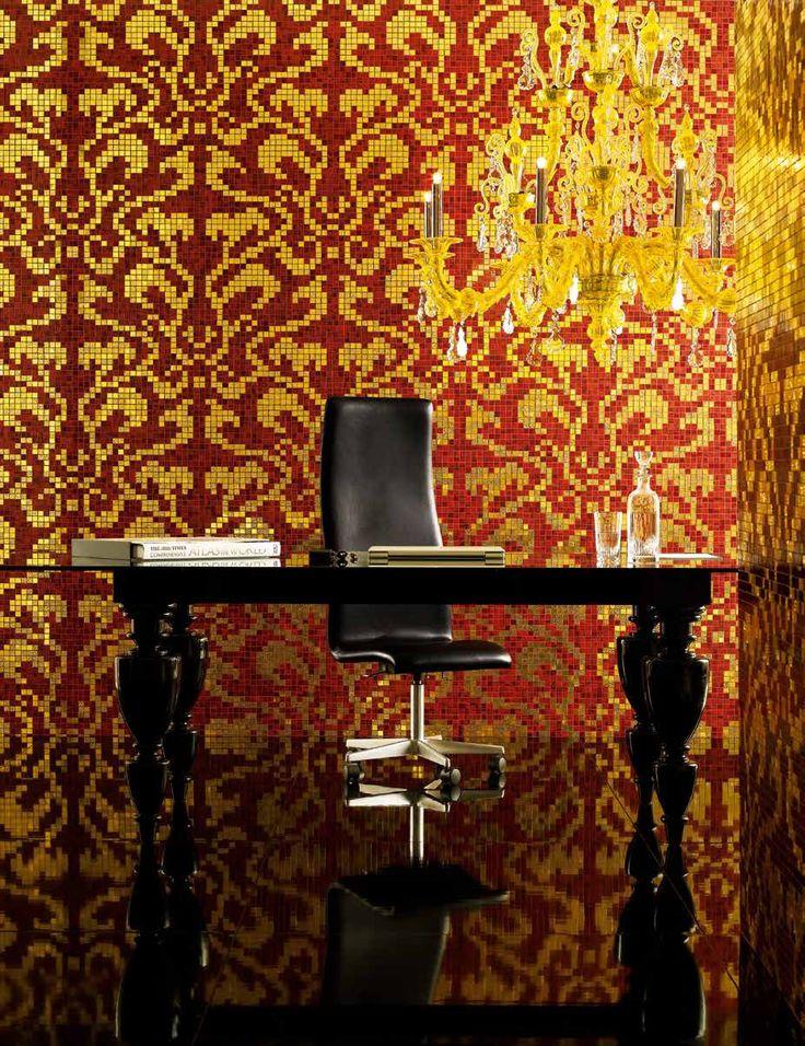 #Bisazza #Decori 2x2 cm Damasco Rosso Oro | #Oro su vetro | su #casaebagno.it a 1729 Euro/collo | #mosaico #bagno #cucina