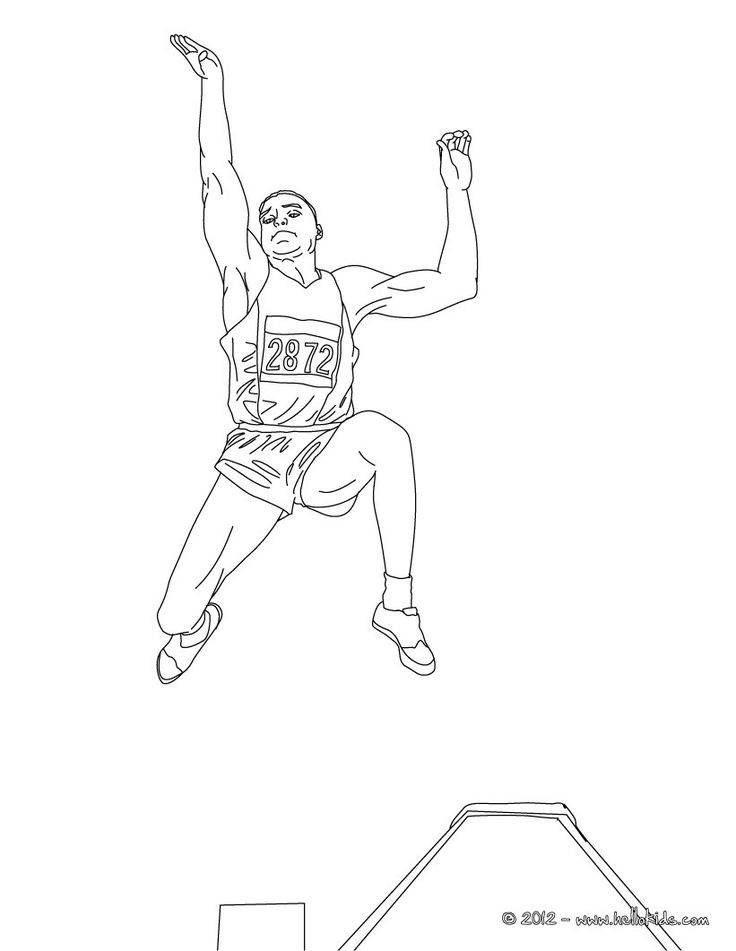 Long Jump Athletics Coloring Page More Sports Pages On Hellokids
