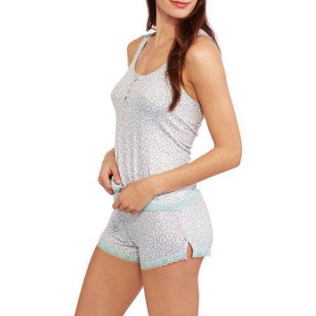 Sun, Moon & Stars Women's Rayon Sleep Racerback Tank and Shorty Shorts 2-Piece Sleepwear Set, Size: XL, Gray