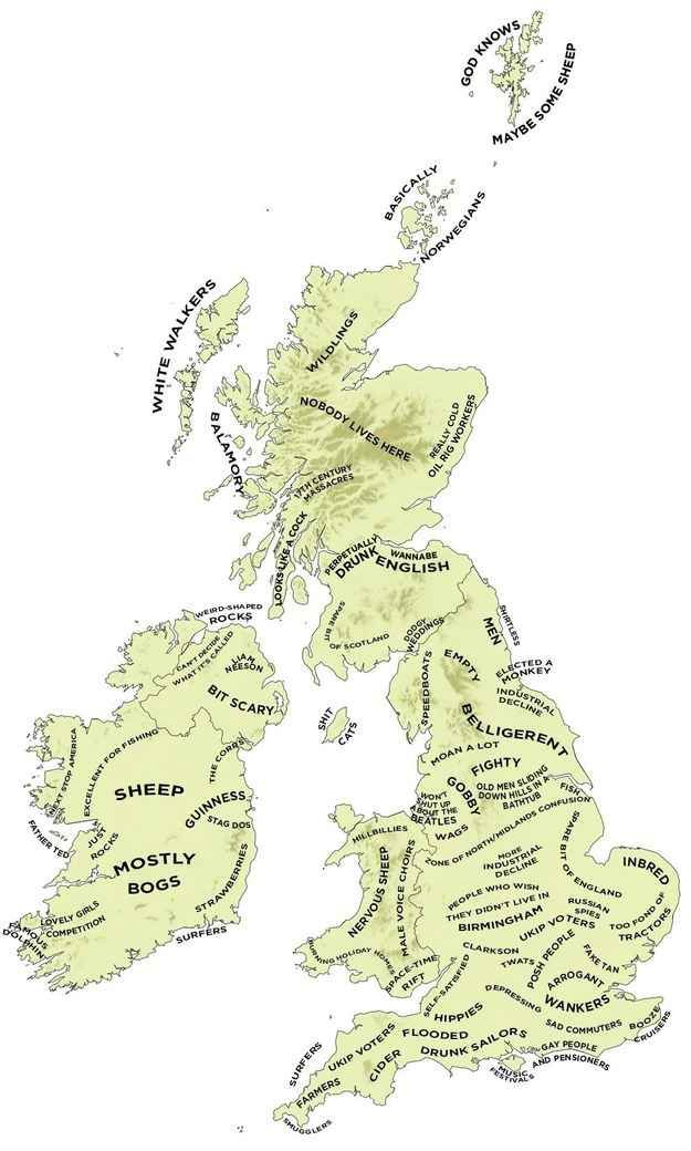 The definitive stereotype map of the UK and Ireland.