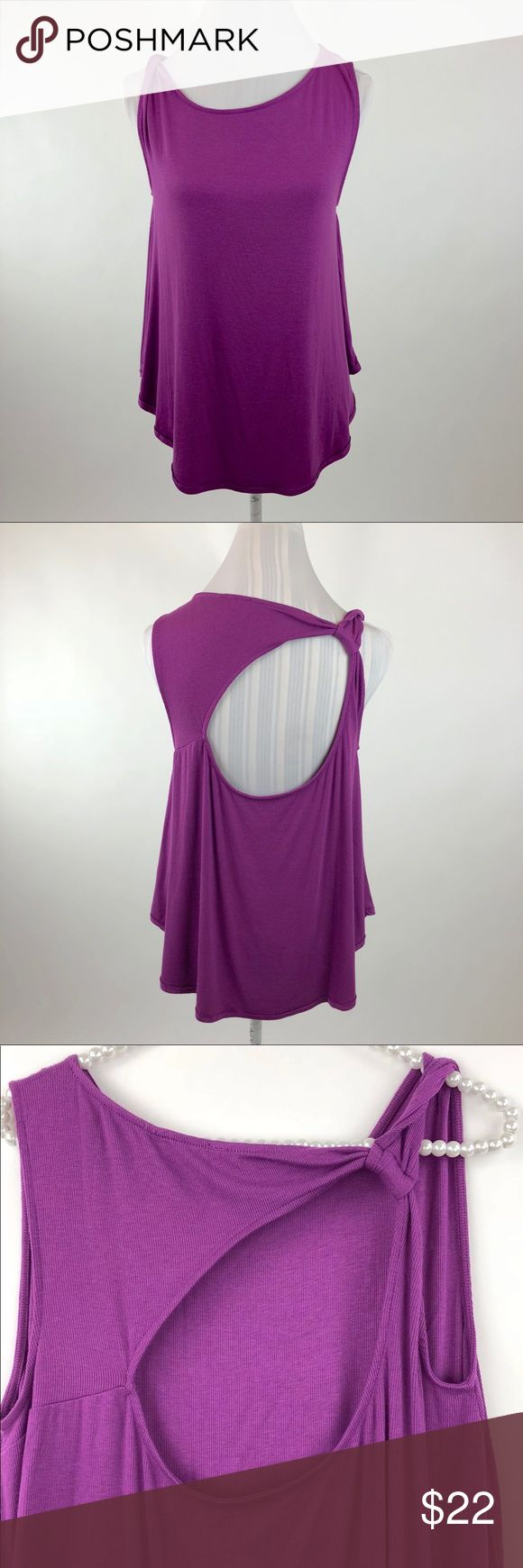 """Free People Purple Cut Out Twist Back Tank Free People Ribbed Cut Out Tank Top in Purple   Women's Size Small  Pit to Pit: 17""""  Length: 25""""  Condition: New without tags. Free People Tops Tank Tops"""
