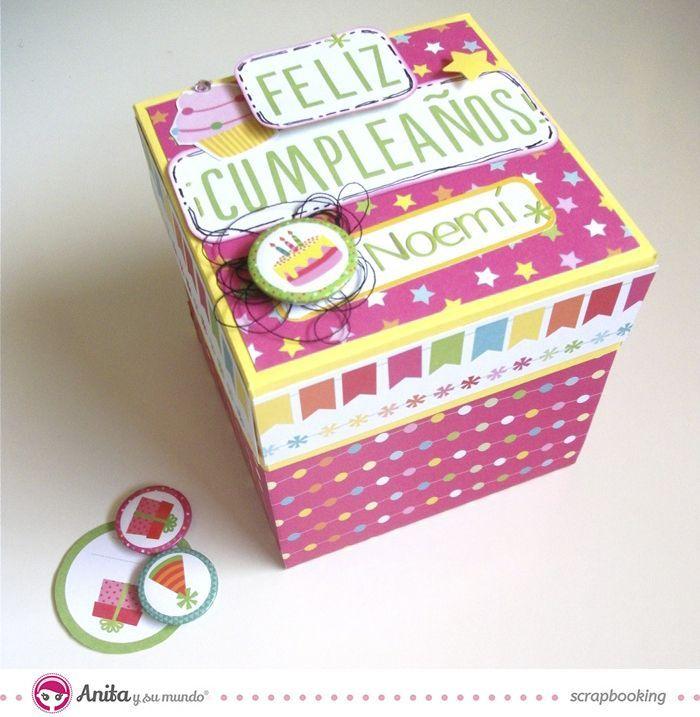 Caja explosiva con papel de scrapbooking de Anita y su mundo, colección Fiesta Explosion Box