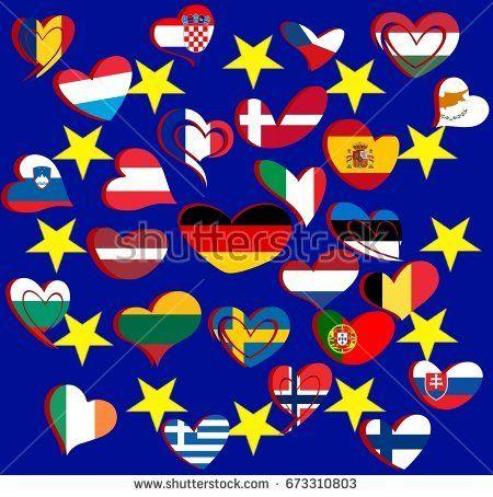 Heart shape flags of European countries
