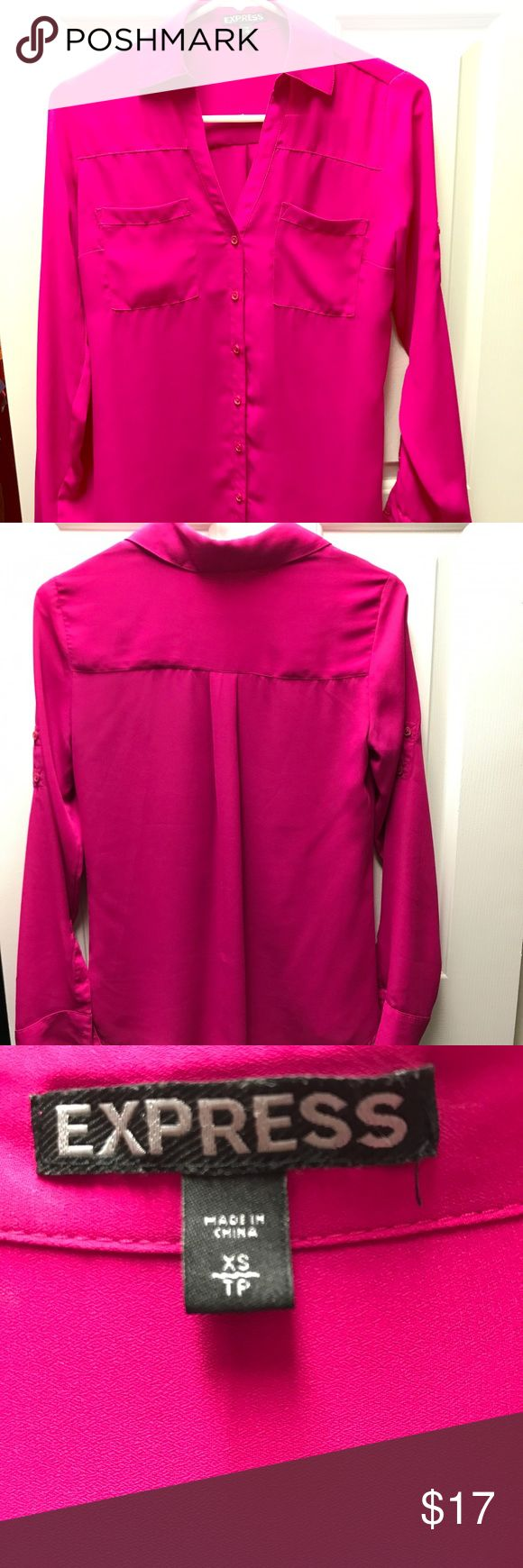 Express Hot Pink Blouse Size XS Express brand blouse. Hot pink. Size XS. Worn less than a handful of times. In great condition. Express Tops Blouses