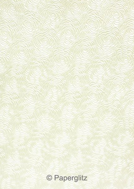 Handmade Embossed Paper - Bouquet White Pearl A4 Sheets