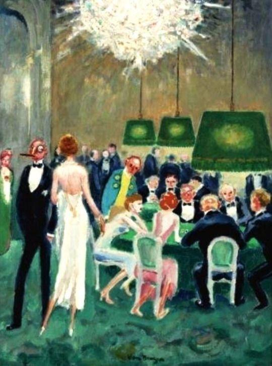 Kees van Dongen - Joueurs de cartes, c. 1945. Oil on canvas (65.4 x 50.2 cm).