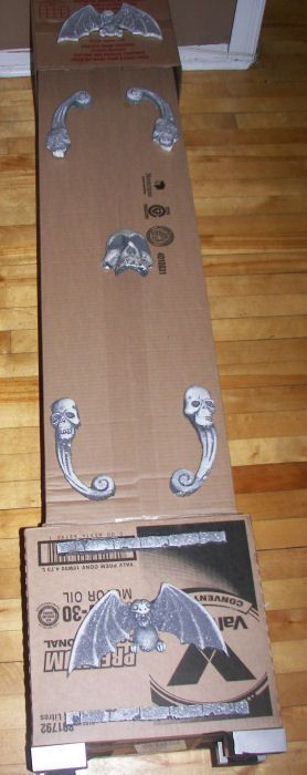 Prop Showcase: Grandfather Clock Cardboard and Dollar Store Items  I made this also from card board boxes,small chain to hang small skulls on, it tuned out great