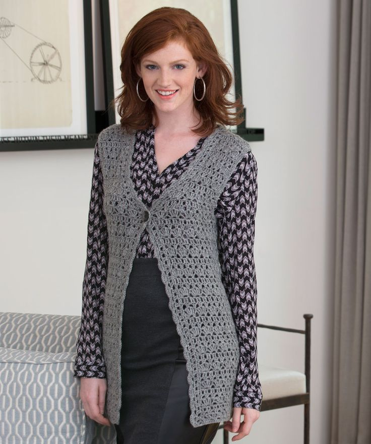 A crocheted lace vest adds the perfect touch to any outfit. Plus, the wool yarn keeps you warm in cool weather.