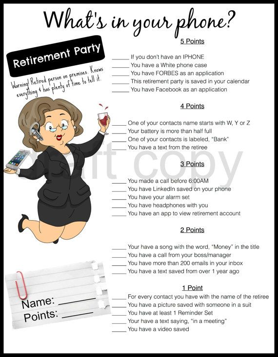 Retirement party game