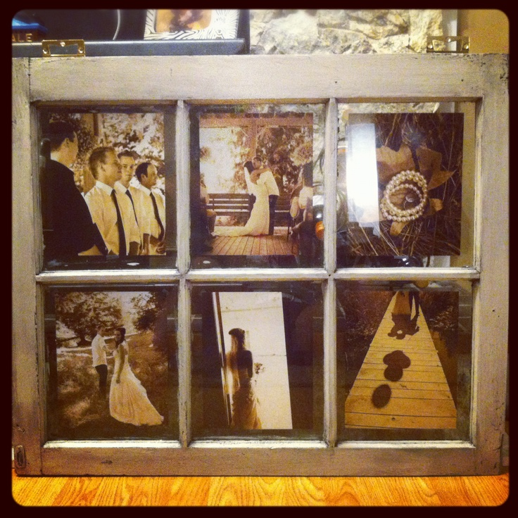 Old farm window turned into a picture frame..DIY