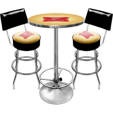 Miller High Life Mhl9900 Ultimate Miller High Life Pub Table And Stools With Back