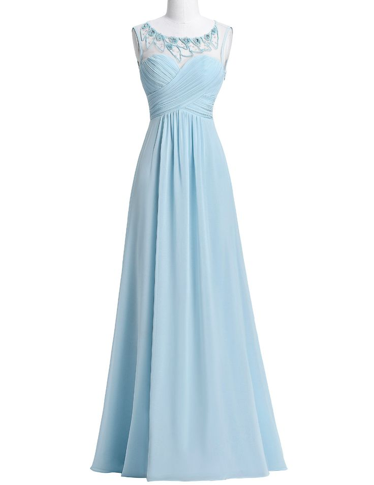 New Arrival Chiffon Bridesmaid Dresses,Light Blue Long Wedding Party Dress