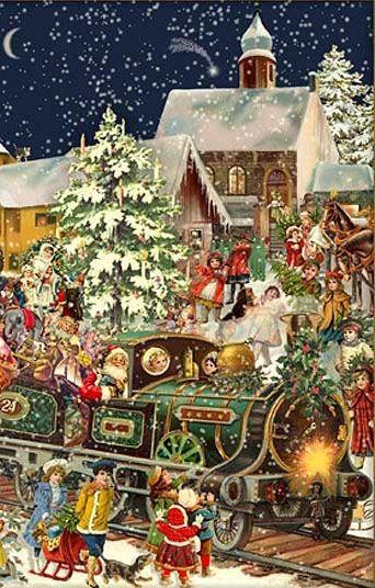 .Santa by Train Advent Calendar Card ~ Germany