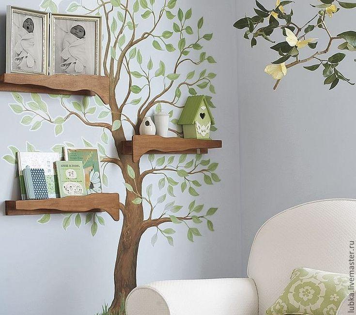 Купить роспись дерева в гостинной - роспись стены, гостинная, столовая, дерево, веточки, кухня, скворечник