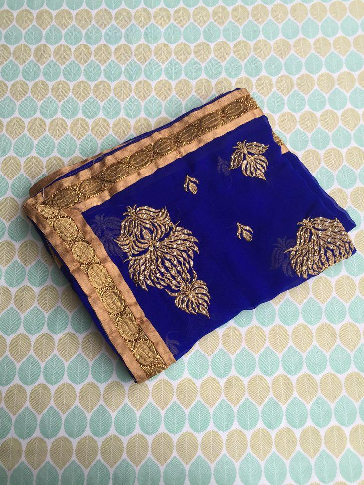 Dark Blue Chiffon Saree with Blouse