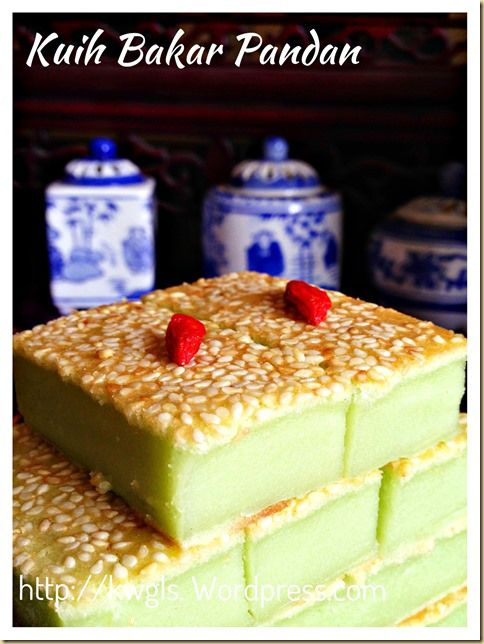 kuih bakar 140g flour 200ml coconut 100ml water 140g sugar 3 small eggs a few drops pandan 1/4tsp salt bake 165deg 40min