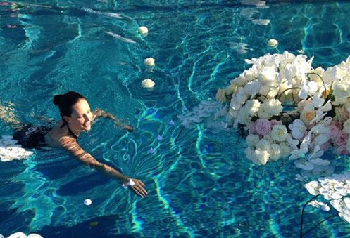 Floating floral arrangements at the Australian Ballet performance, #qualia. #hamiltonisland