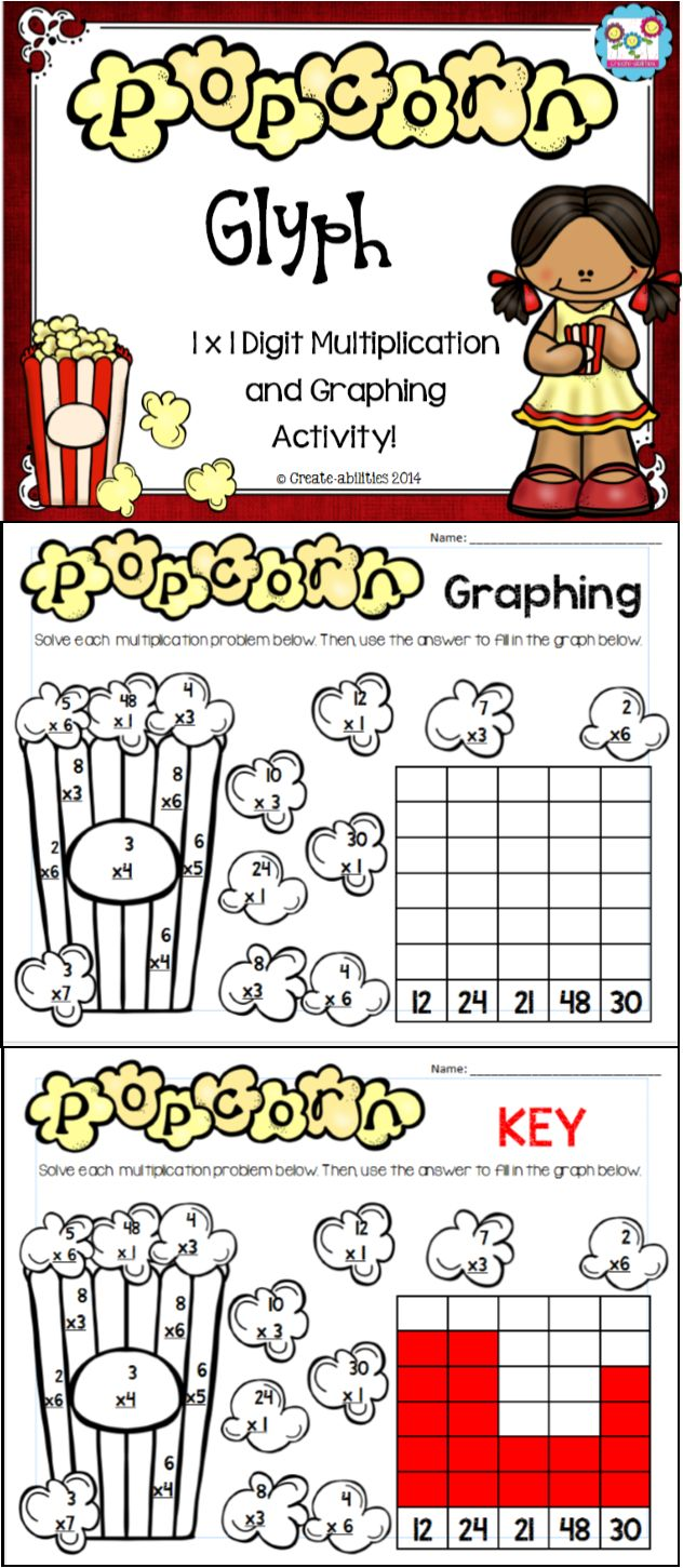 FREE! Popcorn-themed multiplication graphing activity!