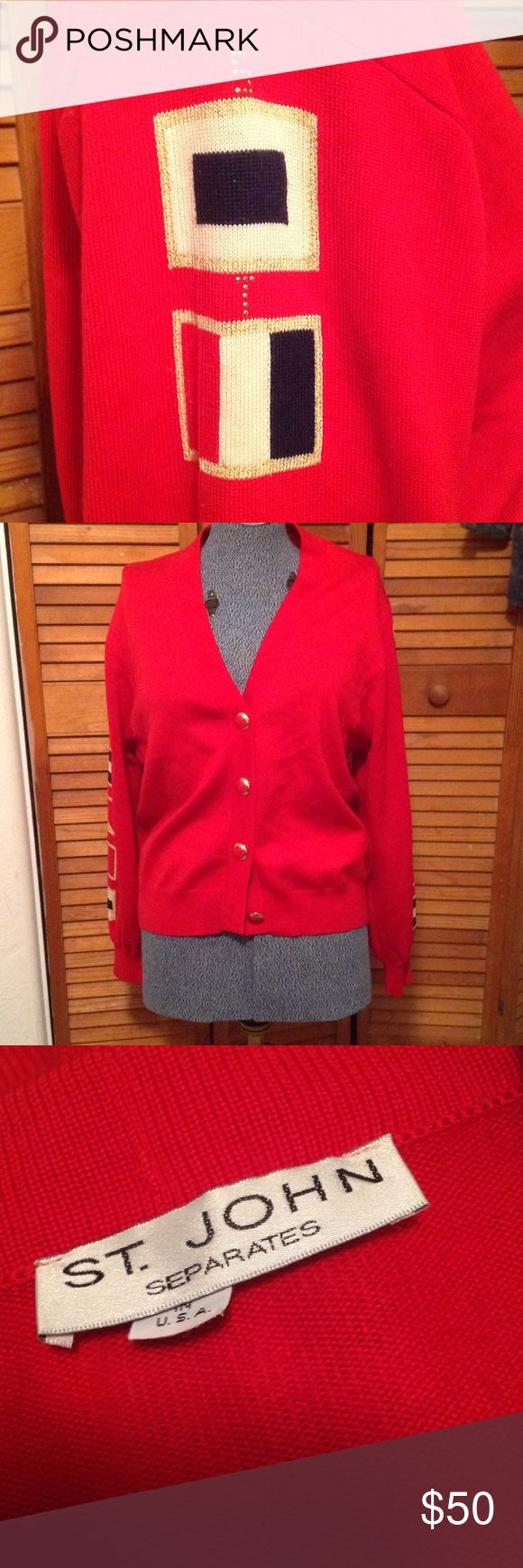 St. John nautical cardigan Vintage St. John cardigan. Naval flags down sleeve with St. John in small stones. Red buttons. St. John Sweaters Cardigans