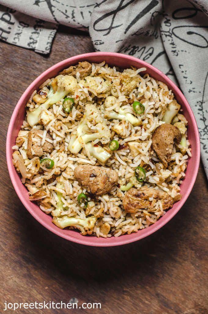 Indian Kitchen: Burnt Garlic Fried Rice / Cauliflower & Soya Chunk...