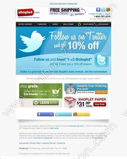 brand shoplet subject follow us on twitter and get 10 off email designs twitter. Black Bedroom Furniture Sets. Home Design Ideas