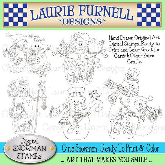Sellos digitales de muñeco de nieve Laurie Furnell sellos de