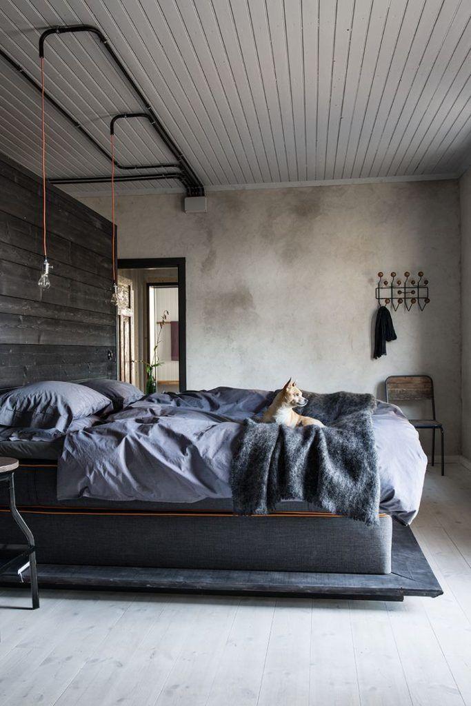 Industrial Bedroom Design For Men Design Chambre Industrielle Interieur De Chambre Chambre Style Industriel Men's industrial bedroom ideas