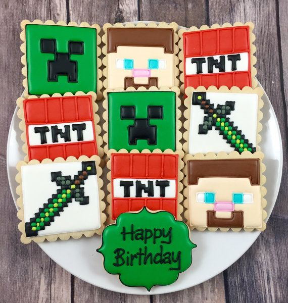 Minecraft Cookies No. 1 by Whoosbakery on Etsy                                                                                                                                                                                 More
