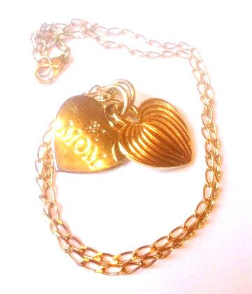 Double Heart Necklace Silver Gold No 1 Mom Pendant 1970s