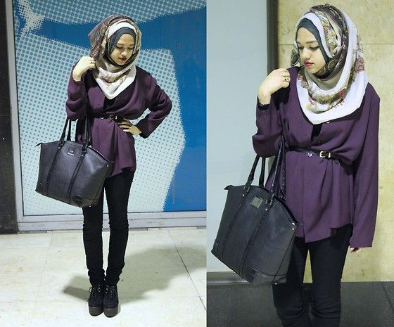 Cream Chariot Hijab, Vintage Shirt, Primark Gold Buckle Belt, Debenhams Black Bag, H Black Skinny Jeans, Deichmann Creeper Wedge Shoes