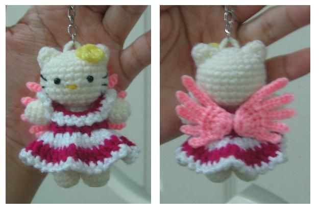 http://2.bp.blogspot.com  kitty key ring: Crafts Crochet, Angel Wt, Aloha Kitty, Kitty Keys, Kitty Angel, Hello Kitty, Angel Keychains, Amigurumi, Crochet