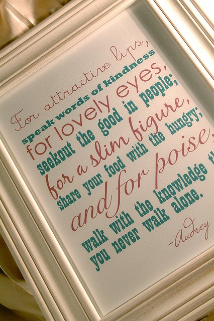 Red Bumble Bee :: Audrey Hepburn Framed Quote by RedBumbleBee, via Flickr