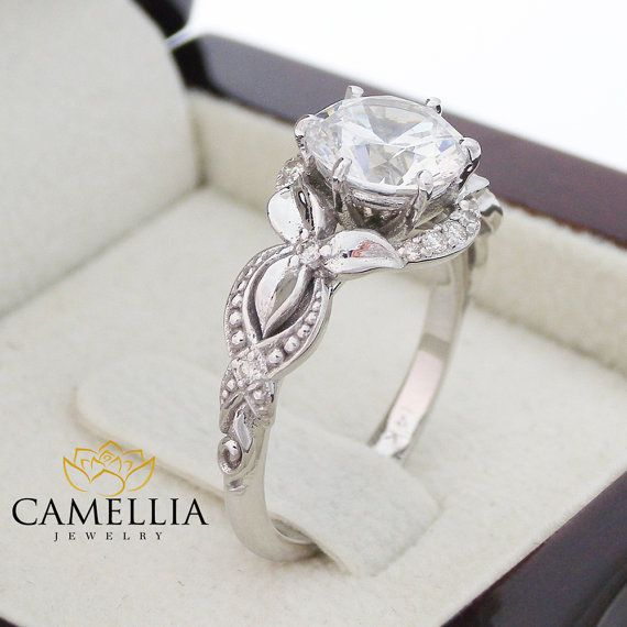 Unique Engagement Ring 14K White Gold Diamond by CamelliaJewelry