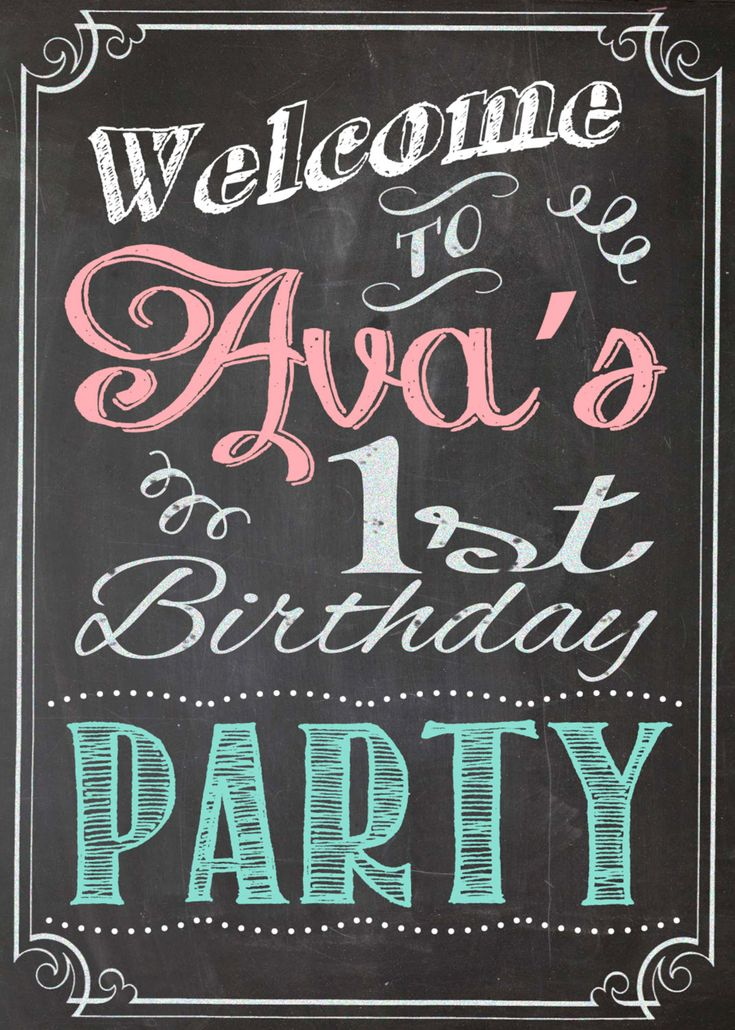 Shabby chic vintage chalkboard welcome sign birthday party bridal or baby shower wedding digital for Chalkboard sign font