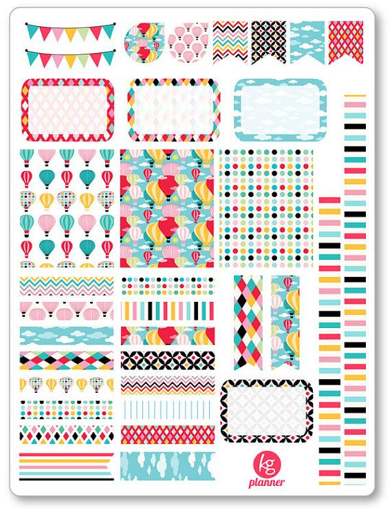 In The Clouds Decorating Kit / Weekly Spread Planner Stickers for Erin Condren Planner, Filofax, Plum Paper