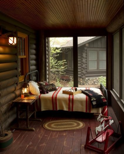 I would very much like my bed beside a big glass window...: Rustic Porches, Idea, Blanket, Beds, Screens Porches, Sleep Porches, Logs Cabins, Cabins Porches, Cabins Bedrooms
