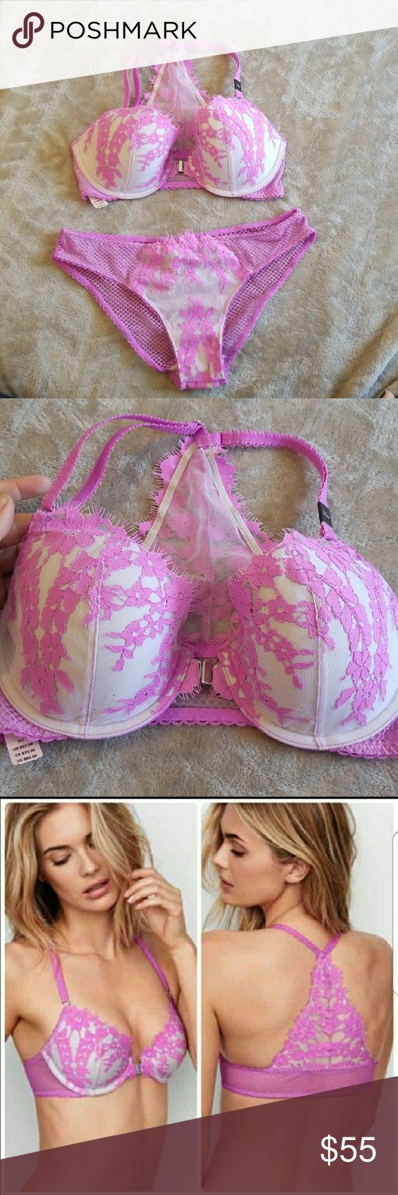 """SET! Victoria's Secret DREAM ANGELS bra & panty NWT. Bra size 32D (According to the Victoria's secret size chart the sister size of 32D is 34C) panty size small. From the dream angels collection. Very sexy lace, beautiful floral pattern, sexy lace back! Front closure, adjustable straps. Panty is """"cheekini"""" style. Bundle with other items to save on price and shipping! Victoria's Secret Intimates & Sleepwear"""