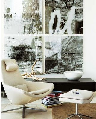 Wonderful choices of paintings and furniture! 2bmodern: black and whitest