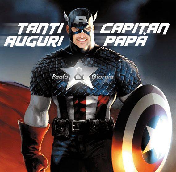 #auguri #papà #eroe #capitanamerica #biglietto #figli