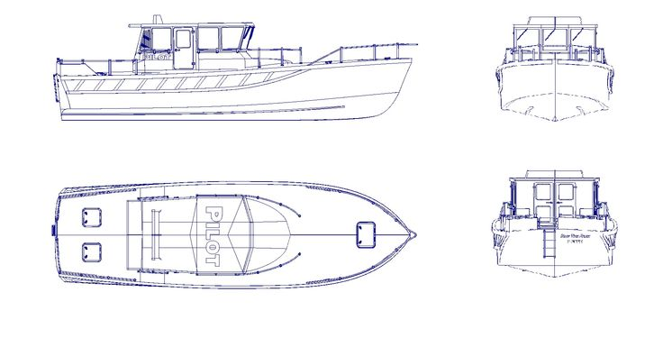 Basic Lines Of The Pilot Boat Shown In 4 Different