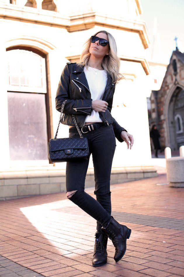 Chanel 2.55 hand bag, ripped jeans from Sissy Boy, brown boots from YDE, white sweatshirt from ZARA, black leather jacket from ZARA, Electric sunglasses, Fox and Lime silver rings