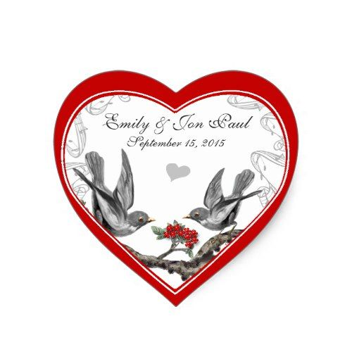 Red Cherry Blossom Vintage Birds Wedding Stickers
