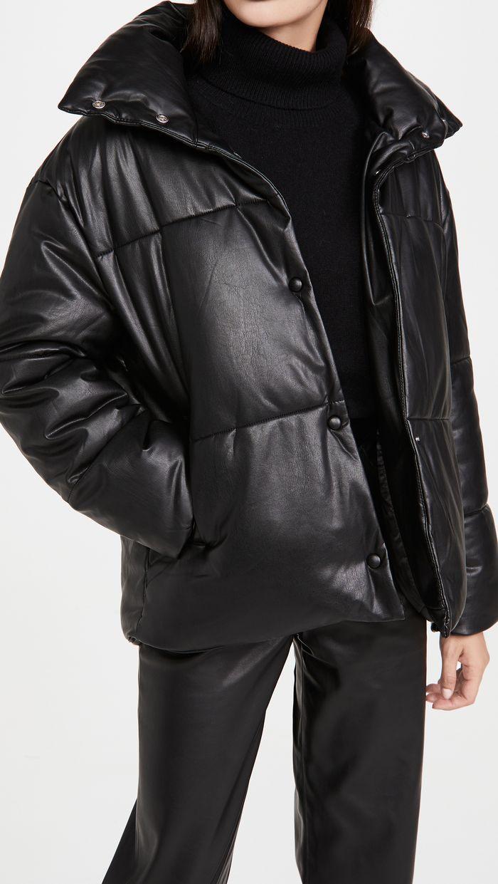 Avec Les Filles Faux Leather Puffer Jacket In 2021 Leather Puffer Jacket Avec Les Filles Puffer [ 1241 x 700 Pixel ]