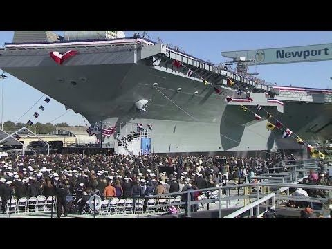 USS Gerald R. Ford (CVN-78) the largest aircraft carrier in the world, opening ceremony! (YouTube)