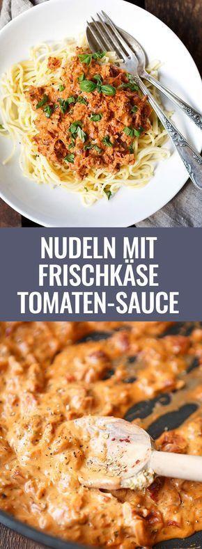 15-Minuten Nudeln mit Frischkäse-Tomaten-Sauce. Dieses einfache Rezept erfordert nur 10 Zutaten und ist SO gut - Kochkarussell.com