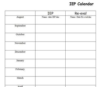special education schedule template - special education start up my first year will have and