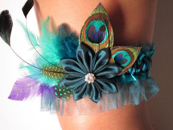 Peacock Wedding Garter, Homecoming Garter, Mint Garter, Zebra Garter, Peacock Garter, Teal Blue Garter, Kanzashi Flower, Feather Garter via Etsy