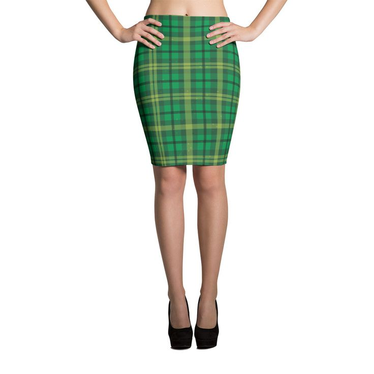 Green Irish Tartan Pencil Skirts