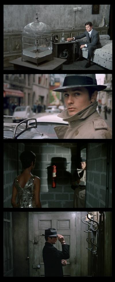 Le Samouraï.  Film réalisé par Jean-Pierre Melville en 1967 avec Alain Delon, Nathalie Delon, François Périer, Cathy Rosier…