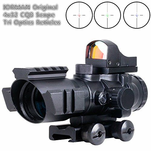 Hunting- IORMAN Original 4x32 Tactical Hunting Rifle Scope Red/Green/Blue Optics Reticles Illuminated Reflex Sight Holographic Red Dot Sight with 20mm Rail for Aiming/Shooting ** You can find out more details at the link of the image.